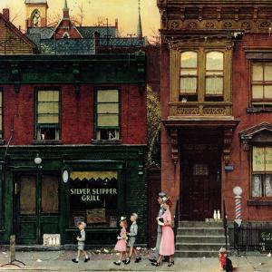 """""""Walking to Church"""", April 4,1953 by Norman Rockwell"""