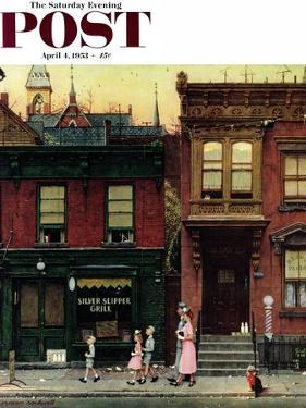 """""""Walking to Church"""" Saturday Evening Post Cover, April 4,1953 by Norman Rockwell"""
