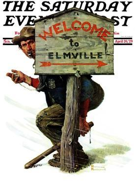 """Welcome to Elmville"" Saturday Evening Post Cover, April 20,1929 by Norman Rockwell"