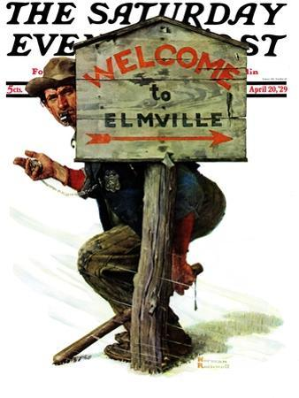 """""""Welcome to Elmville"""" Saturday Evening Post Cover, April 20,1929 by Norman Rockwell"""