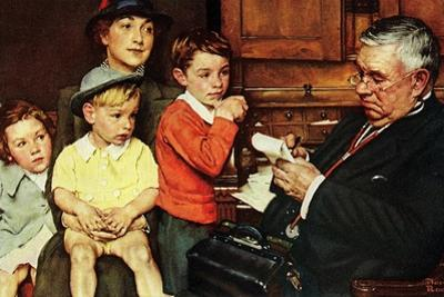 When the Doctor Treats Your Child (or Doctor Checking up Children) by Norman Rockwell