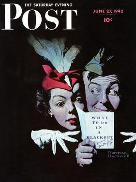 """""""Willie Gillis in a Blackout"""" Saturday Evening Post Cover, June 27,1942 by Norman Rockwell"""