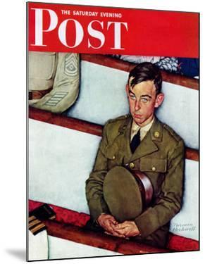 """Willie Gillis in Church"" Saturday Evening Post Cover, July 25,1942 by Norman Rockwell"
