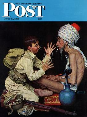 """Willie's Rope Trick"" Saturday Evening Post Cover, June 26,1943 by Norman Rockwell"