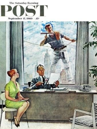 """Window Washer"" Saturday Evening Post Cover, September 17,1960 by Norman Rockwell"