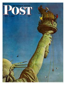 """Working on the Statue of Liberty"" Saturday Evening Post Cover, July 6,1946 by Norman Rockwell"