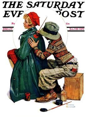 """Young Artist"" or ""She's My Baby"" Saturday Evening Post Cover, June 4,1927 by Norman Rockwell"