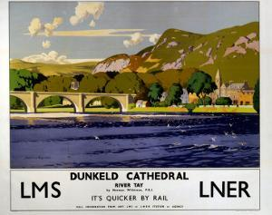 Dunkeld Cathedral, River Tay, LMS/LNER, c.1923-1947 by Norman Wilkinson