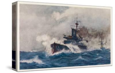 Warship of the Royal Navy Depicted at Speed in a Heavy Sea