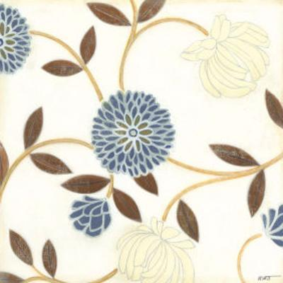 Blue and Cream Flowers on Silk I by Norman Wyatt Jr.