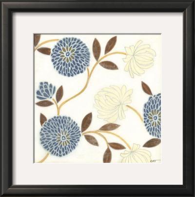 Blue and Cream Flowers on Silk II by Norman Wyatt Jr.