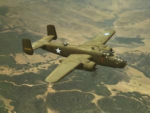 North American Aviation's B-25 Mitchell Bomber in Flight During World War 2