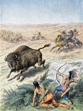 North American Indians Hunting Buffalo, C1870
