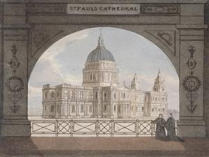 North-East View of St Paul's Cathedral Through an Archway, City of London, 1820
