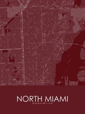 North Miami, United States of America Red Map