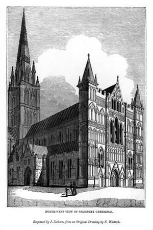 North West View of Salisbury Cathedral, 1843 by J Jackson