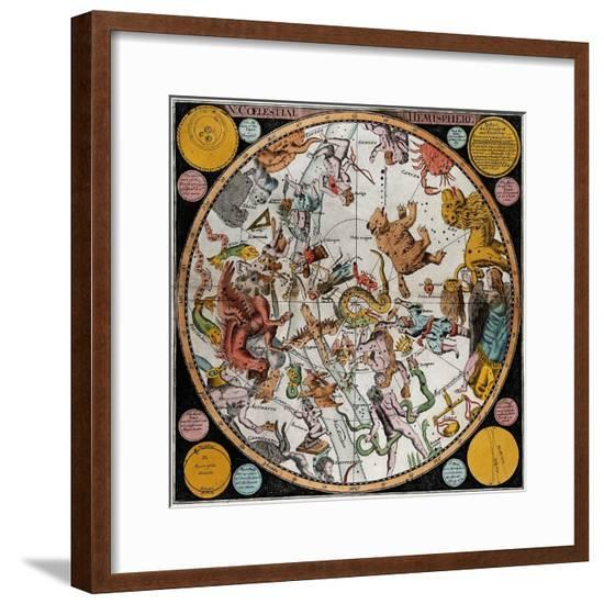 Northern Celestial Planisphere, 1790-Science Source-Framed Giclee Print