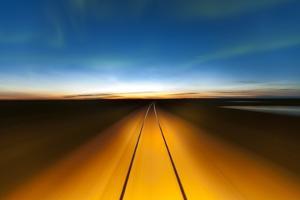 Northern Lights and Railroad, Churchill, Manitoba, Canada