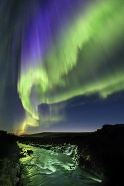 Northern Lights over Hvita River, Iceland