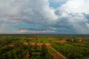 Northern view of stupas seen from top of tower at Aureum Palace Hotel, Bagan, Mandalay Region, M...