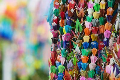 Japan Hiroshima Peace Memorial Park Colorful Paper Cranes Close-Up