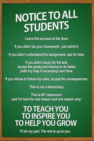 Notice to all Students Classroom Rules Plastic Sign
