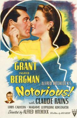 Notorious, Cary Grant, Ingrid Bergman, Claude Rains, 1946