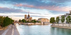 Notre Dame Cathedral on the Banks of the Seine River at Sunrise, Paris, Ile-De-France, France
