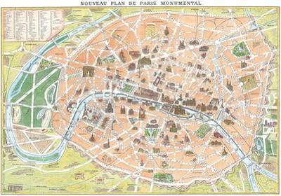 Nouveau Plan De Paris Monumental- Antique Map Of Paris