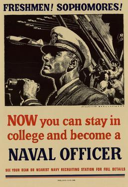 Now You Can Stay in College and Become a Naval Officer WWII War Propaganda Art Print Poster