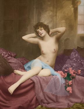 Classic Vintage French Nude - Hand-Colored Tinted Art by NPG - Neue Photographische Gesellschaft