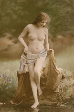 Classic Vintage French Nude - Hand-Colored Tinted Art by NPG Studio