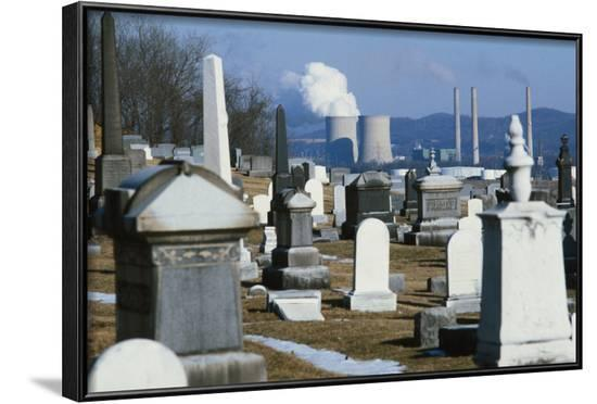 Nuclear Plant and Cemetery--Framed Photographic Print