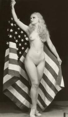 Nude Blonde with U.S. Flag