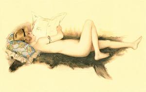 Nude Reading Newspaper on Bearskin Rug