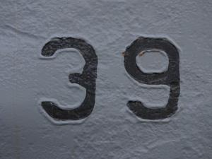 Number 39 Painted onto a White Wall
