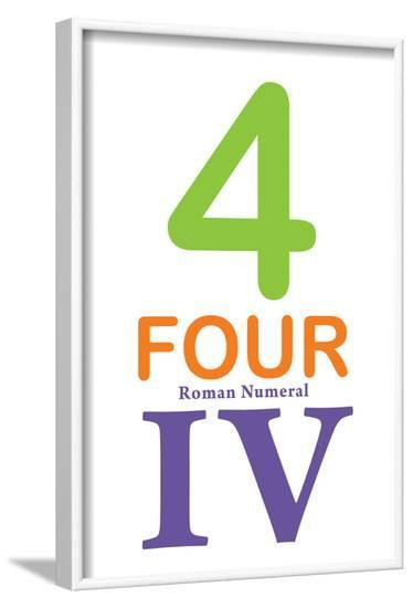Number 4 Sign with Roman Numeral Banner Poster--Framed Poster