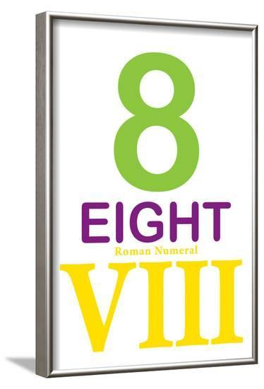 Number 8 Sign with Roman Numeral Banner Poster--Framed Poster