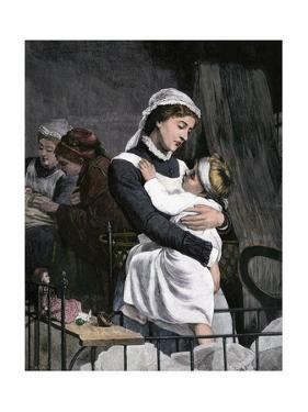 Nurse Holding Sick Child in the Children's Hospital, London, 1880s