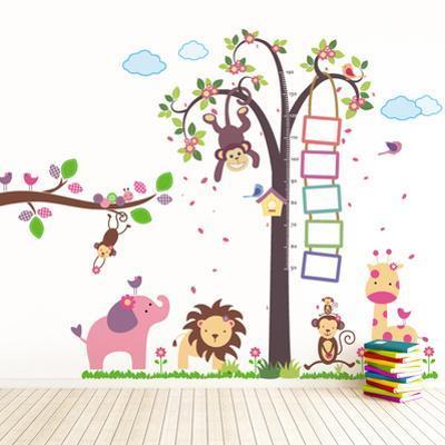 Nursery Monkey Height Measure with Elephant Animals
