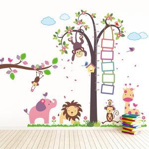 Nursery Monkey Height Measure with Elephant Animals