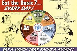 Nutritional Chart Pyramid Eat the Basic 7 WWII War Propaganda