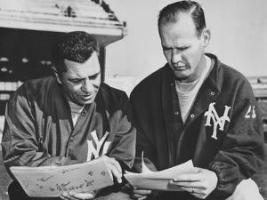 Ny Giants Coaches, Tom Landry and Vince Lombardi Reviewing Play Charts