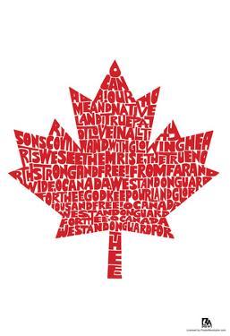 O Canada Lyrics Maple Leaf Poster