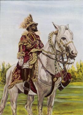 Haile Selassie Emperor of Ethiopia on His Horse by O. De Goguine