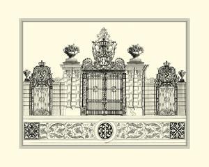 Crackled B&W Grand Garden Gate IV by O. Kleiner