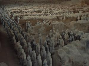 Terra-Cotta Army near 2,200-year-old Tomb of China's 1st Emperor, Qin Shi Huang, near City of Xian by O. Louis Mazzatenta