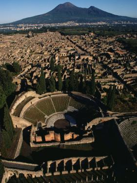 View over Pompeii toward Mount Vesuvius by O. Louis Mazzatenta