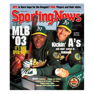 Oakland A's Miguel Tejada and Barry Zito - March 31, 2003