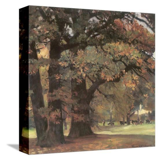 Oaks in the Park of Wechselburg-Eugen Bracht-Stretched Canvas Print
